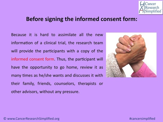 Informed consent form - clinical trials - Cancer Research Simplified