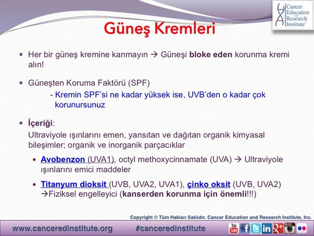 Cilt kanseri ve Güneşten Korunma - Cancer Education and Research Institute (CERI)