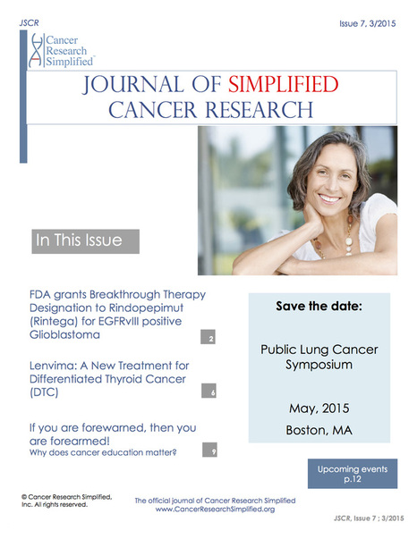 Journal of Simplified Cancer Research March 2015 Issue Published