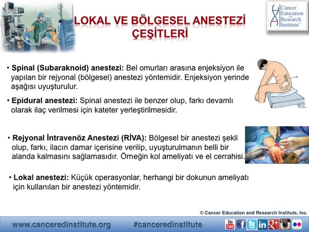 Local ve bolgesel anestezi cesitleri - Cancer Education and Research Institute (CERI)