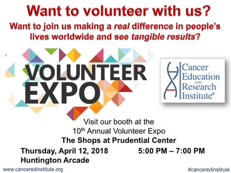 Visit our booth at the Volunteer Expo - Cancer Education and Research Institute (CERI)