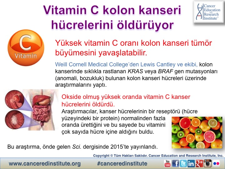 Vitamin C kolon kanseri hücrelerini öldürüyor - Cancer Education and Research Institute (CERI)